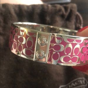 Coach Silver and Pink Logo Bracelet